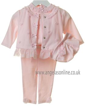 Bluesbaby girls 4 piece floral outfit TT0051-19 Pink