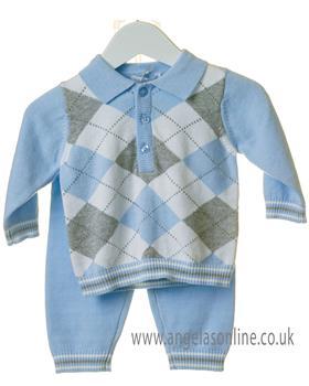 Bluesbaby boys argyle jumper & pants TT0100-19 Blue