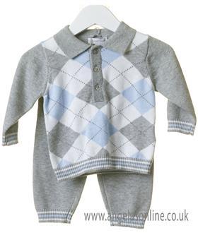 Bluesbaby boys argyle jumper & pants TT0101-19 Grey