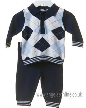Bluesbaby boys argyle jumper & pants TT0102-19 Navy