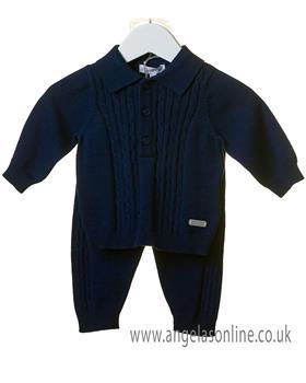 Bluesbaby boys cable knit jumper & pants set TT0104-19 Navy