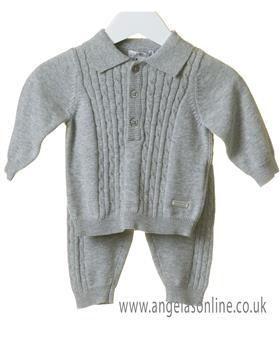 Bluesbaby boys cable knit jumper & pants set TT0105-19 Grey
