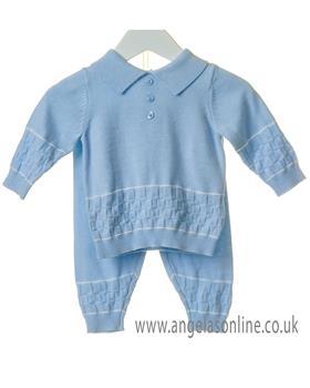 Bluesbaby boys square knit jumper & pants TT0122-19 Blue