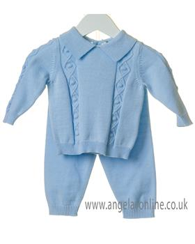 Bluesbaby boys diamond knit jumper & pants TT0123-19 Blue