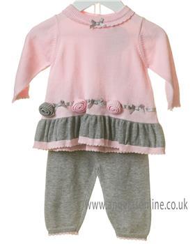 Bluesbaby girls tunic top & leggings set TT0128-19 Pk/Gr