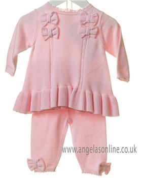 Bluesbaby girls tunic bow top & leggings set TT0133-19 Pink