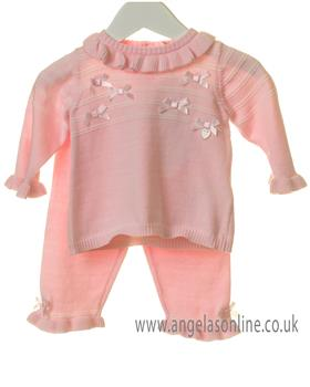 Bluesbaby girls frilled jumper & pant set TT0135-19 Pink