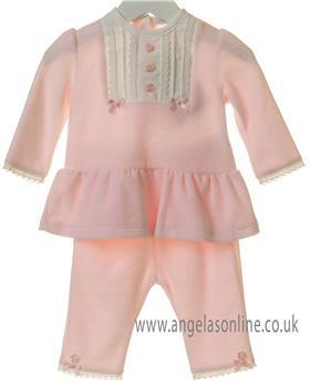 Bluesbaby girls tunic top with yoke & leggings TT0164-19 Pink