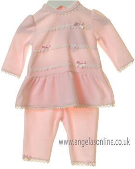 Bluesbaby girls dropped waistline tunic & pants TT0173-19 Pink