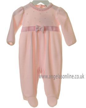 Bluesbaby newborn girls diamante babygrow TT0176-19 Pink