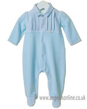 Bluesbaby newborn boys pleated babygrow TT0187-19 Blue