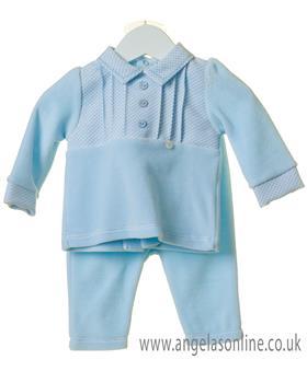 Bluesbaby boys pleated jumper & pants set TT0188-19 Blue