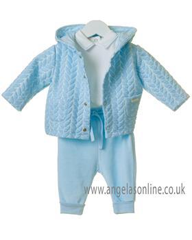 Bluesbaby boys 3 piece set with patterned coat TT0201-19 Bl/Wh