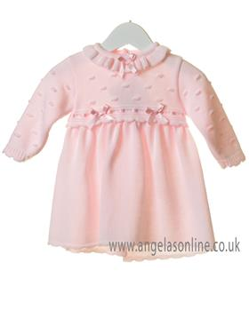 Bluesbaby girls frilled bow dress TT0252-19 Pink
