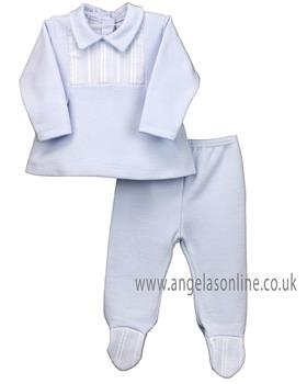 Rapife baby boys two piece winter set with feet & yoke 4942-19 Blue