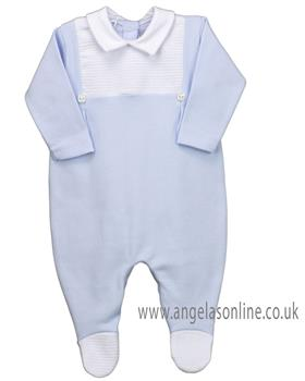 Rapife baby boys long sleeve winter babygrow with yoke 4914-19 Blue