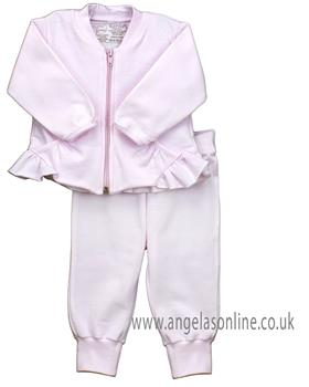 Rapife baby girls frilled winter tracksuit with pockets 4881-19 Pink