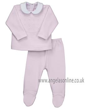 Rapife baby girls 2 piece set with feet 4902-19 Pink