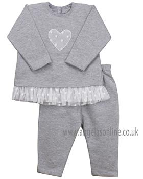 Rapife baby girls frilled tracksuit with heart design 4960-19 Grey