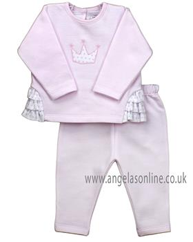 Rapife baby girls long sleeve tracksuit with crown design 4969-19 Pink