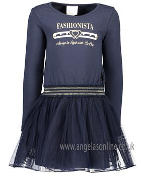 S&D Le Chic girls navy long sleeve winter fashionista dress C908-5822