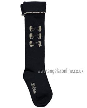 S&D Le Chic girls navy knee high 3/4 length socks with bows C908-5905