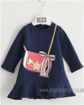 I Do girls long sleeve knitted dress with bag design 4K651-19 Navy