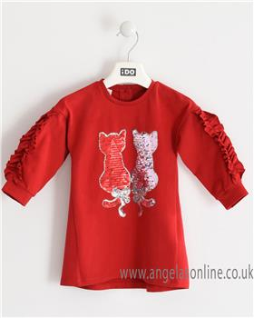 I Do girls long sleeve knitted dress with cute cat design 4K664-19 Red