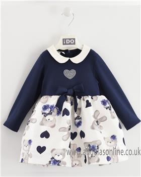 I Do girls knitted dress with sleeves and teddy skirt 4K654-19 Bl/Cream