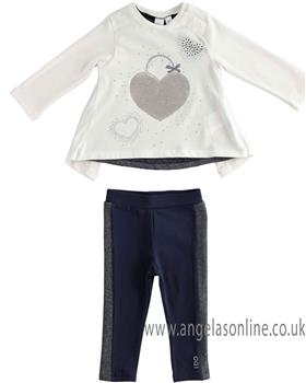 I Do girls maxi winter heart sweater & navy striped legging set 4K672