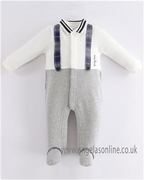 I Do baby boys winter all-in-one with mock braces & feet 4K217-19 Grey