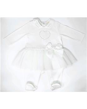 Mintini baby girls tutu babygrow with bow waistband MB2814-19 Cream
