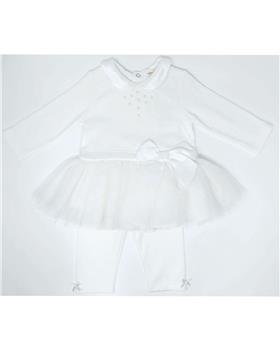 Mintini baby girls winter tutu tunic top & legging set MB2815-19 Cream