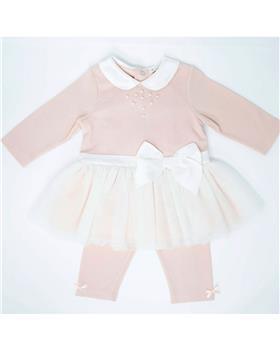 Mintini baby girls winter tutu tunic top & legging set MB2815B-19 Pink