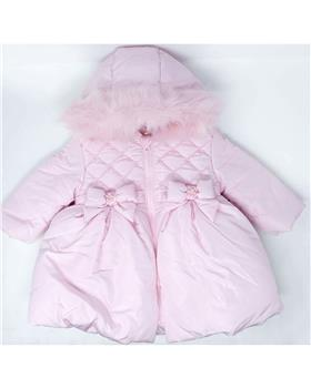 Mintini baby girls winter bubble coat with fur hood MB2910-19 Pink