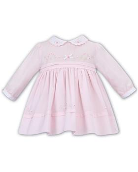 Sarah Louise baby girls frilled pleated winter dress 011620-19 Pk/Wh