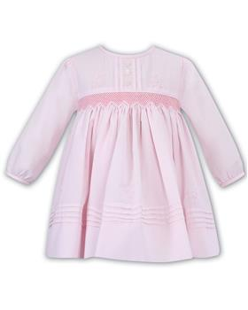 Sarah Louise baby girls pleated winter button dress 011621-19 Pink