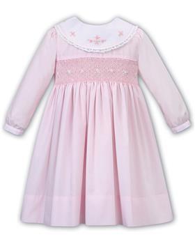 Sarah Louise baby girls winter smock dress with yoke 011651-19 Pk/Wh