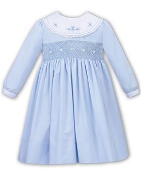 Sarah Louise baby girls winter smock dress with yoke 011651-19 Bl/Wh