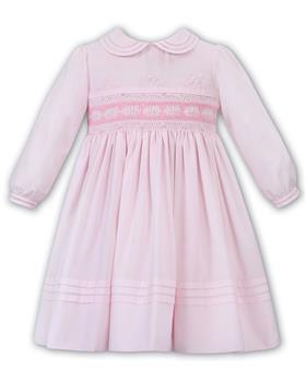 Sarah Louise baby girls pleated winter smock dress 011655-19 Pk/Wh