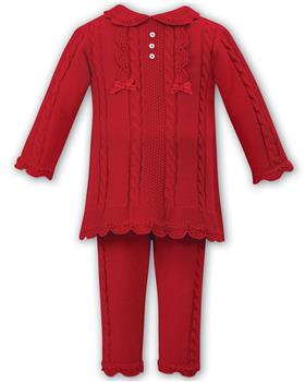 Sarah Louise girls two piece winter trendy cable set 008092-19 Red