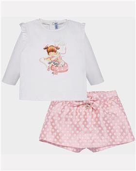Mayoral girls polka dot short set 2209-19 Pink
