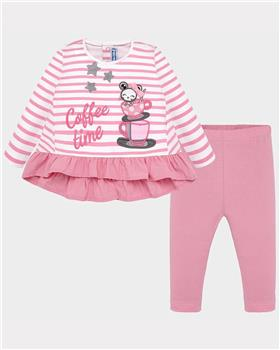 Mayoral girls striped top & legging set 2749-19 Pink