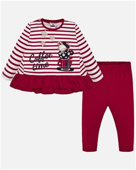Mayoral girls striped top & legging set 2749-19 Red