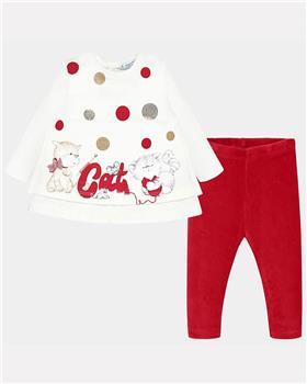 Mayoral girls cat legging set 2741-19 Red