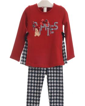 Balloon Chic Girls Houndstooth Legging Set 92BCE543-339-19 RED