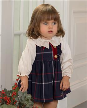 Dolce Petit Girls Blouse & Pinafore 26-2110-2PB-19 NAVY