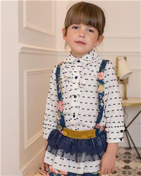 Dolce Petit Girls Blouse & Floral Knicker 26-2214-23-19 NAVY