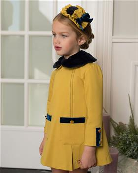 Dolce Petit Girls Dress with Fur Collar 26-2215-V-19 YELLOW