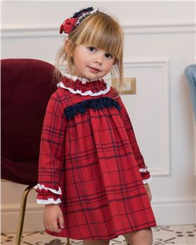 Dolce Petit Girls Checked Dress 26-2220-V-19 RED/NVY